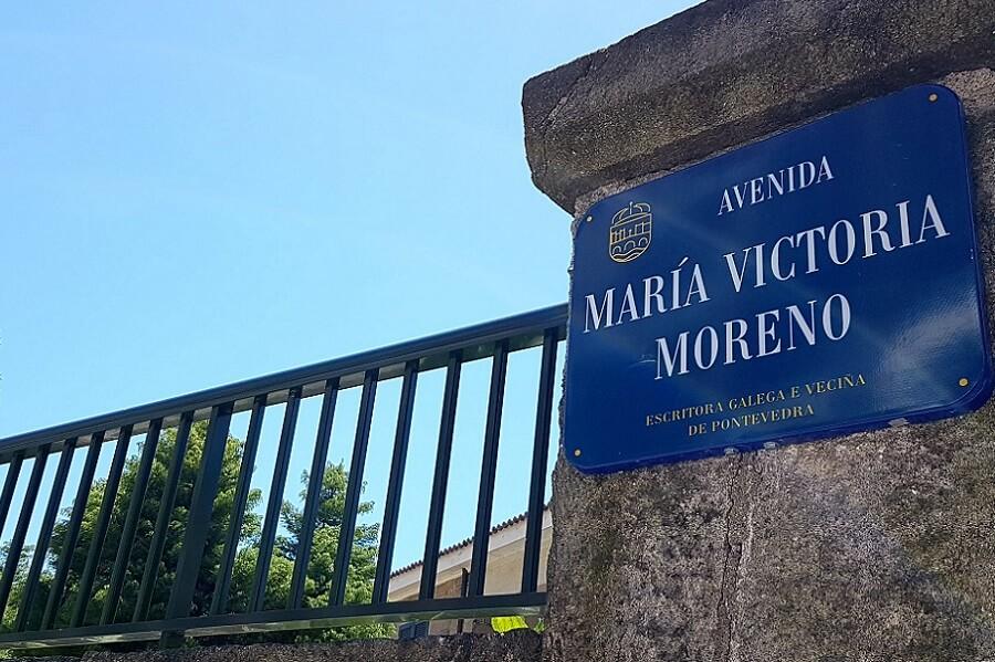 Letrero de la calle Maria Victoria Moreno en Pontevedra