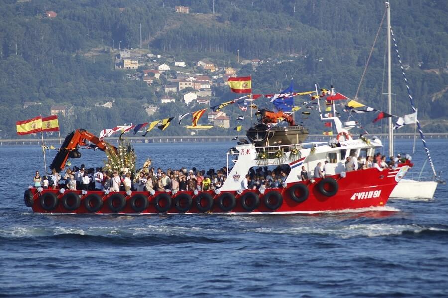 Fiestas de la Virgen del Carmen en pueblos de mar de Pontevedra